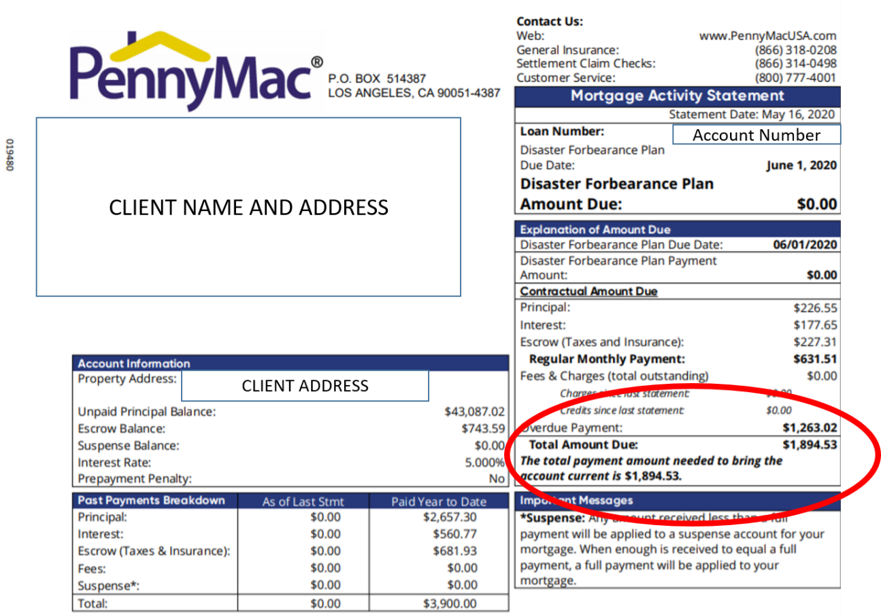sample mortgage statement